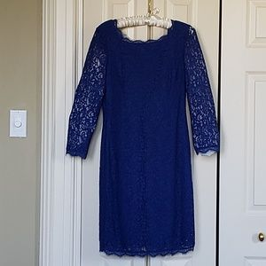 Adrianna Papell Prussian Blue Lace Dress